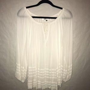 Max Studio Sheer White Long Sleeve Blouse - Large